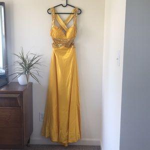 Gold sequin formal dress from David Bridal
